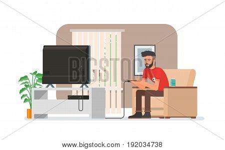 Smiling man playing video game console at home. Vector illustration with the hipster guy sits on sofa, holds game controller and watches TV. Room interior in flat style design.