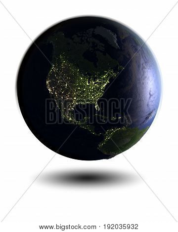 North America On Night Globe