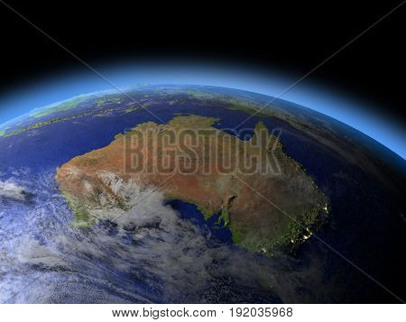 Australia From Space In Evening