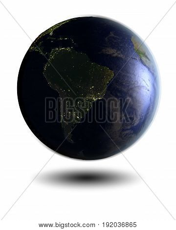 South America On Night Globe
