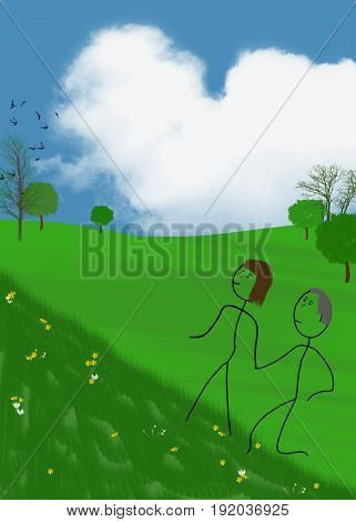 stick couple walking uphill with heart cloud in blue sky