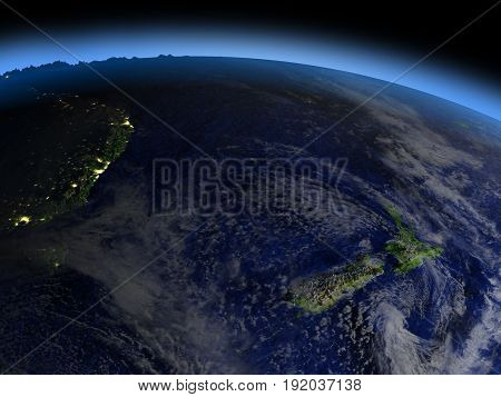 New Zealand From Space In Evening