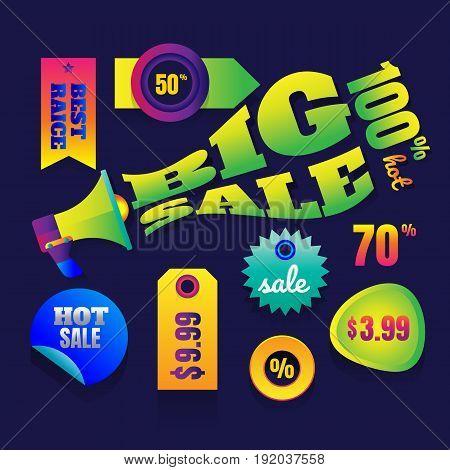 sale button Sale banner template design Big sale special up to 80% off. Super Sale end of season special offer banner. vector illustration.