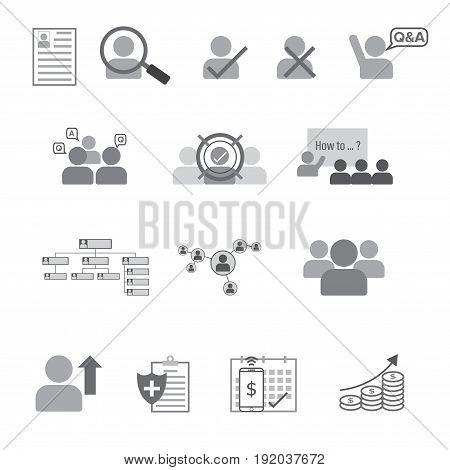 Set Of Human Resource Flat Line Icon