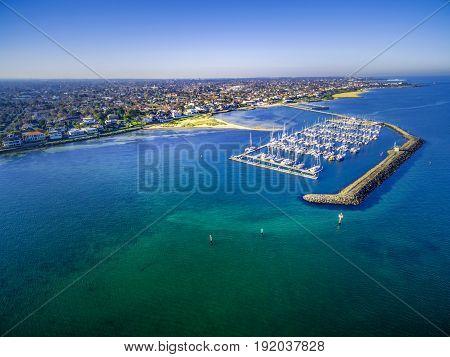 Aerial View Of Middle Brighton Marina, Coastline, And Suburban Area. Melbourne, Australia.