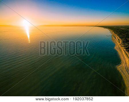 Beautiful Sunset High Above Ocean And Coastline.