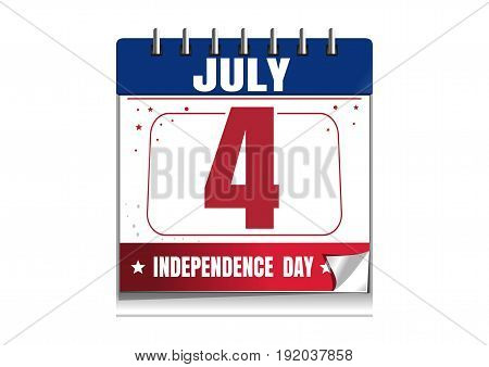 Independence Day calendar. 4 July. Independence Day in the calendar. Red and blue calendar isolated on white background. Vector illustration
