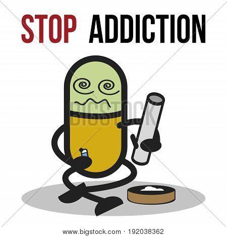 The bad character traits. Stop addiction, Marijuana, Conceptual vector illustration.