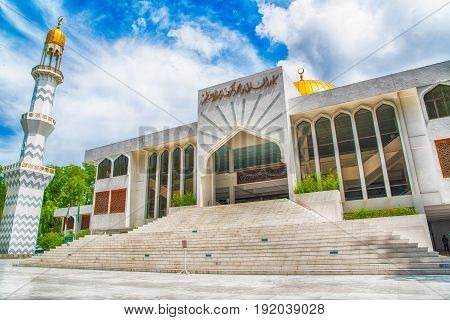 Male, Maldives - June 8, 2017: Islamic Centre - Masjid-al-sultan Muhammad Thakurufaanu Al Auzam Of M