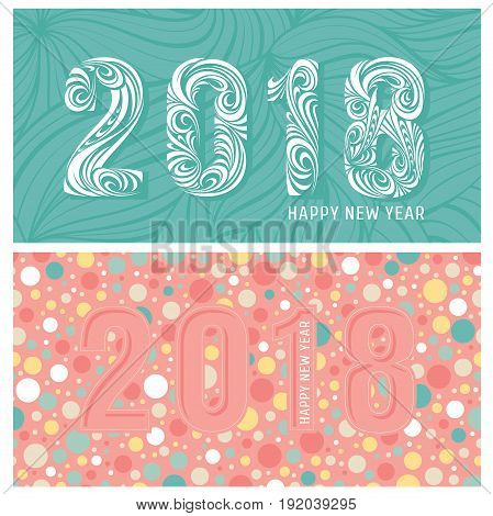 2018 new year banners with stylized numbers. Vector illustration.