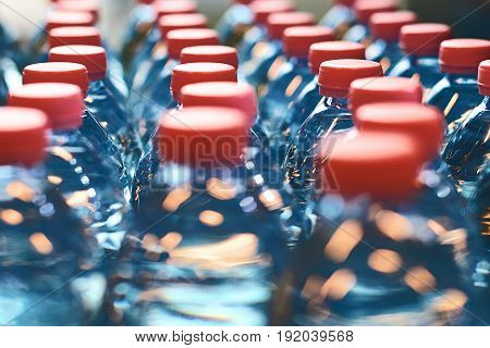 Blue clean plastic bottles with shallow depth of field