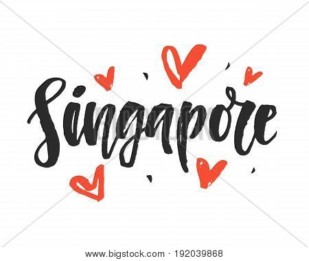 Singapore. Modern city hand written brush lettering, isolated on white background. Ink calligraphy. Tee shirt print, typography card, poster design. Vector illustration.
