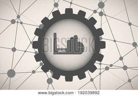 Molecule And Communication Background. Brochure or web banner design template. Connected lines with dots. Technology, industry and science background. Factory building icon in gear.