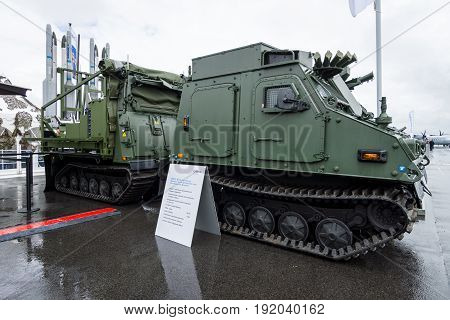 BERLIN GERMANY - JUNE 01 2016: IRIS-T SLS launching station with command and fire-control system of the company Diehl Defence. Exhibition ILA Berlin Air Show 2016