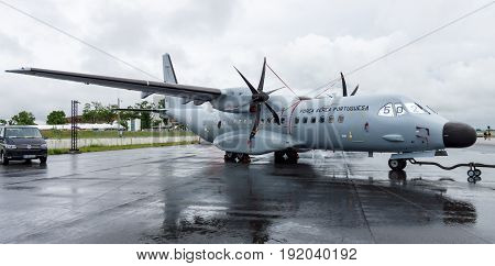 BERLIN GERMANY - JUNE 01 2016: Twin-turboprop maritime patrol aircraft CASA C-295 Persuader. Portuguese Air Force. Exhibition ILA Berlin Air Show 2016