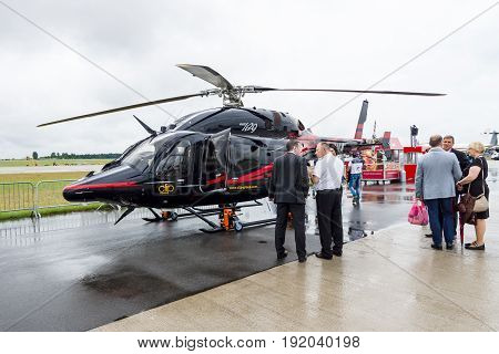 BERLIN GERMANY - JUNE 01 2016: A light twin-engine helicopter developed by Bell Helicopter and Korea Aerospace Industries - Bell 429 GlobalRanger. Exhibition ILA Berlin Air Show 2016