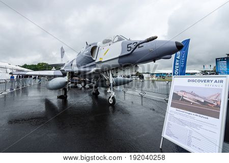 BERLIN GERMANY - JUNE 01 2016: Single seat subsonic carrier-capable attack aircraft McDonnell Douglas A-4N Skyhawk. Exhibition ILA Berlin Air Show 2016