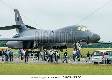 BERLIN GERMANY - JUNE 01 2016: A four-engine supersonic variable-sweep wing jet-powered heavy strategic bomber Rockwell B-1B Lancer. US Air Force. Exhibition ILA Berlin Air Show 2016