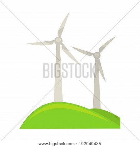 Tall powerful wind energy generators on piece of land covered with grass isolated vector illustration on white background. Metal constructions in form of fan that transform wind into energetic fuel.