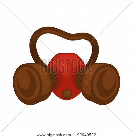 Special face mask for people fighting with pests isolated on white vector colorful illustration in flat design. Closeup protective equipment in red and brown colors from cockroaches and other insects