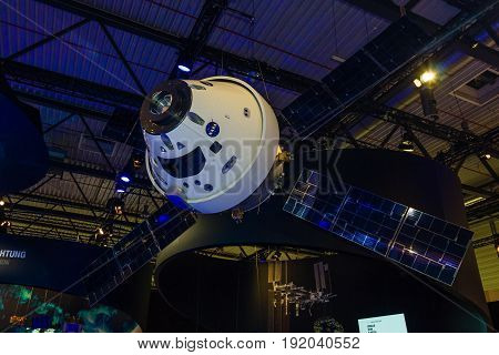 BERLIN GERMANY - JUNE 01 2016: Model of European Service Module for Orion. The joint development of National Aerospace Agency and Airbus Defence & Space. Exhibition ILA Berlin Air Show 2016