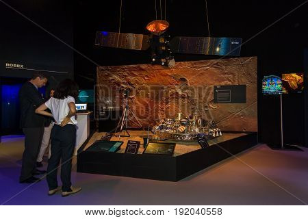 BERLIN GERMANY - JUNE 01 2016: Prototype ExoMars (rover). The stand European Space Agency. Exhibition ILA Berlin Air Show 2016