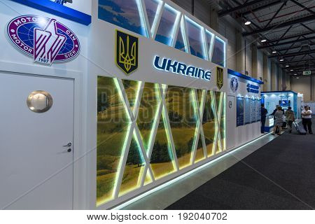 BERLIN GERMANY - JUNE 01 2016: Exhibition area with companies from Ukraine. Exhibition ILA Berlin Air Show 2016