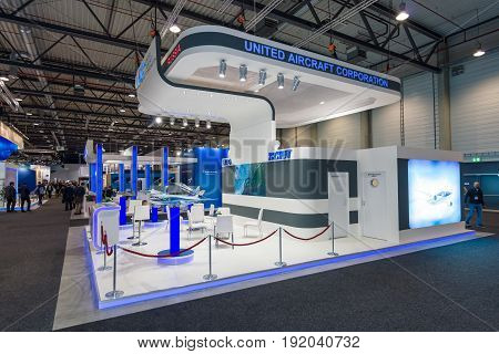 BERLIN GERMANY - JUNE 01 2016: The stand of Unated Aircraft Corporation (Russia). Exhibition ILA Berlin Air Show 2016