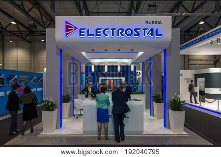BERLIN GERMANY - JUNE 01 2016: The stand of company Electrostal (Russia). Aerospace and defence supplier. Exhibition ILA Berlin Air Show 2016