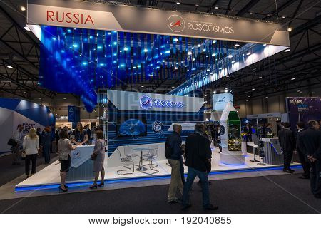 BERLIN GERMANY - JUNE 01 2016: The stand of State Space Corporation - Roscosmos (Russia). Exhibition ILA Berlin Air Show 2016.