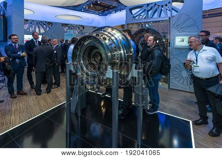 BERLIN GERMANY - JUNE 01 2016: The stand of MTU Aero Engines AG is a German aircraft engine manufacturer. Exhibition ILA Berlin Air Show 2016.