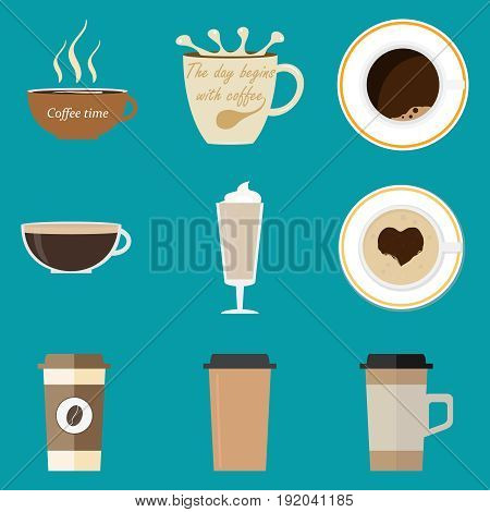A set of coffee cups. Flat design vector illustration vector.