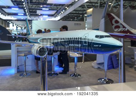 BERLIN GERMANY - JUNE 01 2016: The stand of the Boeing Company. Model of jet airliner 737 MAX 8. Exhibition ILA Berlin Air Show 2016.
