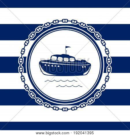 Round Sea Emblem Lifeboat and Chain on a Striped Marine Background Vector Illustration