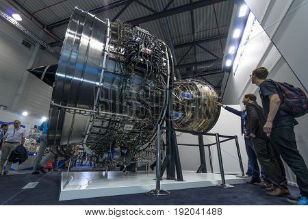 BERLIN GERMANY - JUNE 01 2016: Turbofan jet engines Rolls-Royce Trent XWB. Exhibition ILA Berlin Air Show 2016.
