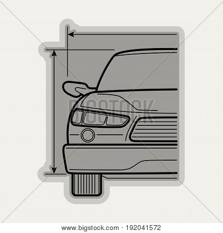 Line flat vector icon car part, simple elements. Industrial style.