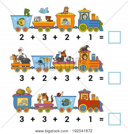 Counting Game for Preschool Children. Educational a mathematical game. Count the animals on the train and write the result. Tasks for addition