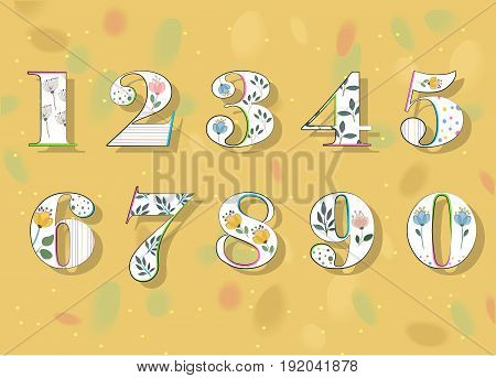 Floral Numerals. White Symbols with colorful decor and Watercolor Flowers. Illustration