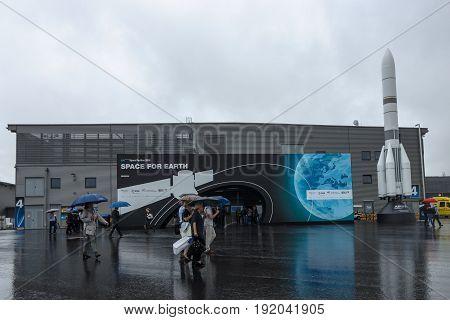 BERLIN GERMANY - JUNE 01 2016: Space Pavilion. Exhibition ILA Berlin Air Show 2016