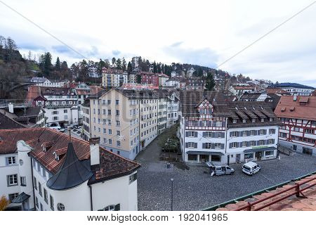 Overview At The Old Town Of St. Gallen On Switzerland