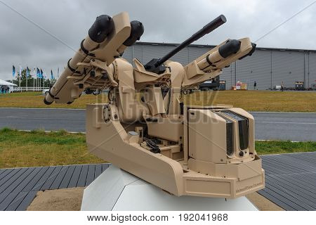 BERLIN GERMANY - JUNE 01 2016: The new concept of automatic short-range air defense system Rheinmetall using MBDA Mistral guided missiles. Exhibition ILA Berlin Air Show 2016.