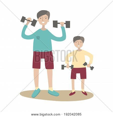 Father and son doing exercise with dumbbells. Family Sports and physical activity with children, joint active recreation. Vector illustration in flat style, isolated on white background.