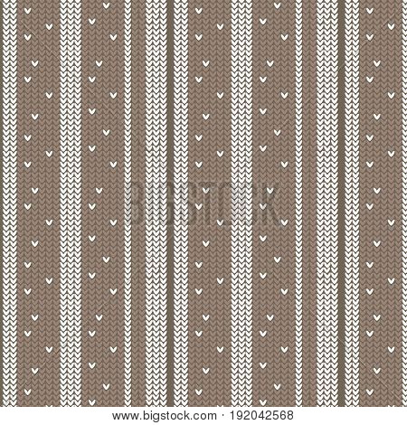 brown shade and white vertical striped with spot knitting pattern background vector illustration image