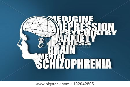 Abstract illustration of a human head with brain. Woman face silhouette. Medical theme creative concept. Connected lines with dots. Schizophrenia disease tags cloud. 3D rendering