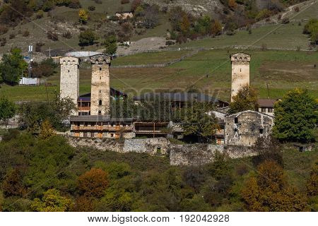 Svan Towers In Snowy Mountains