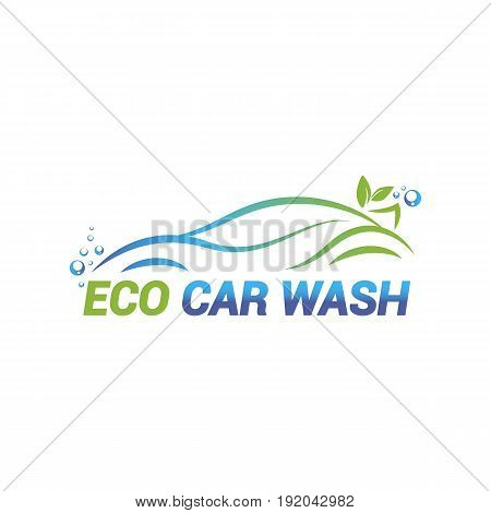 Vector logo template for eco car washing. Car wash icon isolated on white background.