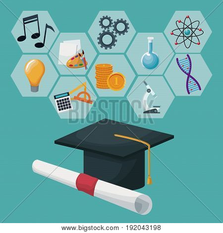 graduation cap and certificate with gray color geometric abstract figures icons academic knowledge vector illustration