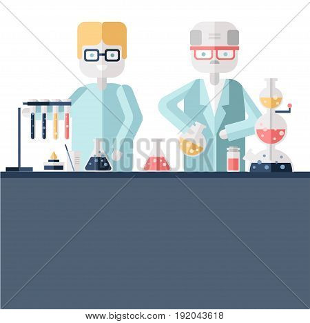 Two scientist chemists in white lab coats in a scientific laboratory. Man and woman make a chemical experiment with substances in test tubes and flasks. Vector illustration in flat style.