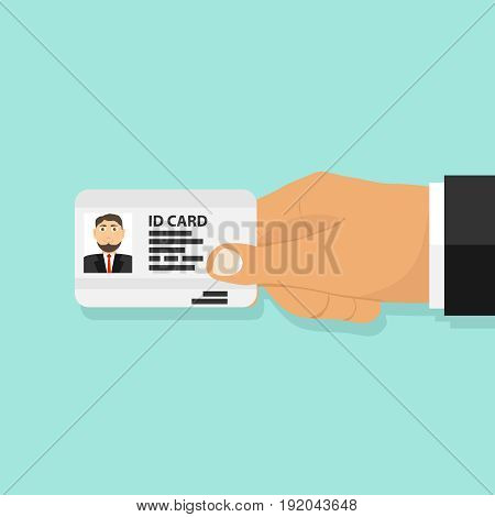 ID card in the person's hand a person holds an ID card. Flat design vector illustration vector.