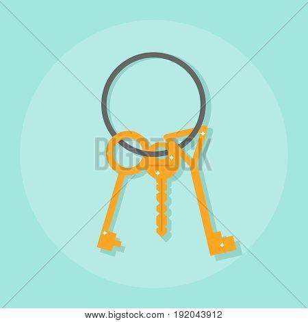 A bunch of keys keys on a metal ring. Flat design vector illustration vector.